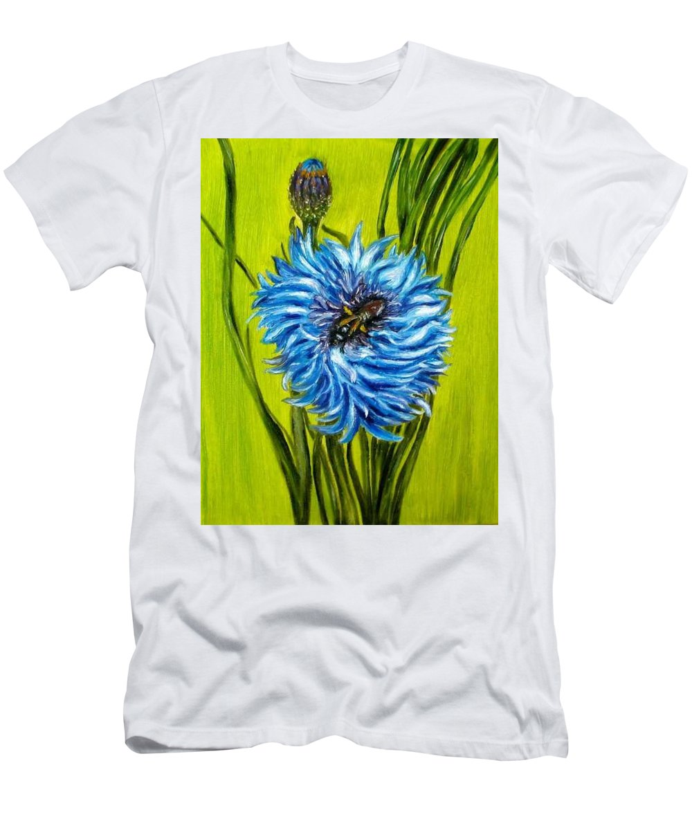 Flower Men's T-Shirt (Athletic Fit) featuring the painting Flower And Bee Oil Painting by Natalja Picugina