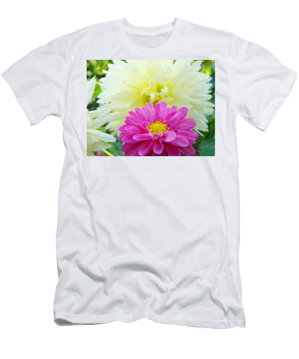 Dahlia Men's T-Shirt (Athletic Fit) featuring the photograph Flower Art Print White Pink Dahlia Floral Canvas Baslee Troutman by Baslee Troutman