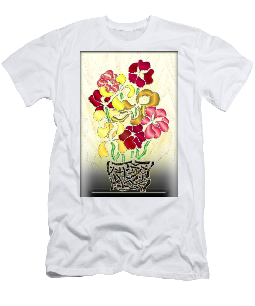 Abstract Digital Art Men's T-Shirt (Athletic Fit) featuring the digital art Flower Basket by Mark Sellers