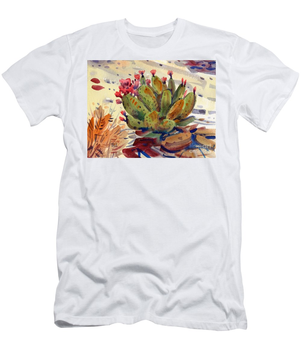 Opuntia Cactus Men's T-Shirt (Athletic Fit) featuring the painting Flowering Opuntia by Donald Maier