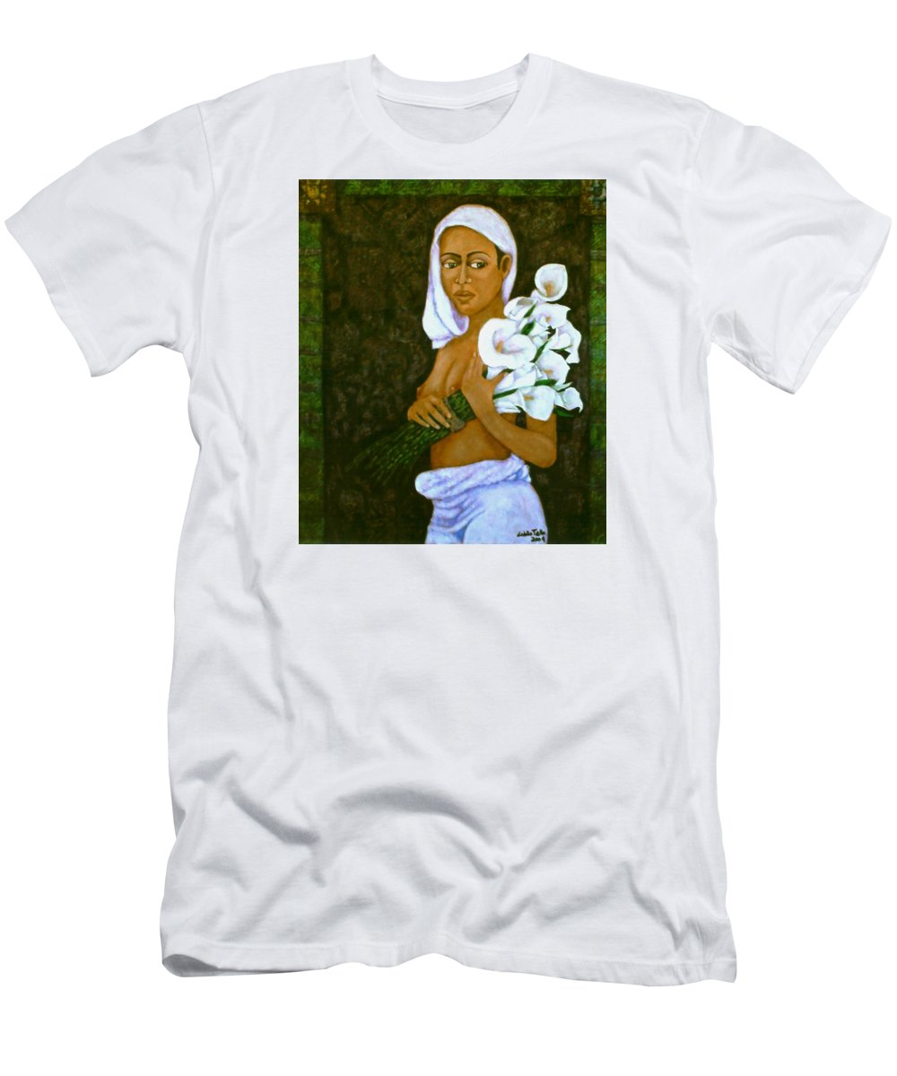 Love Men's T-Shirt (Athletic Fit) featuring the painting Flowers For An Old Love by Madalena Lobao-Tello