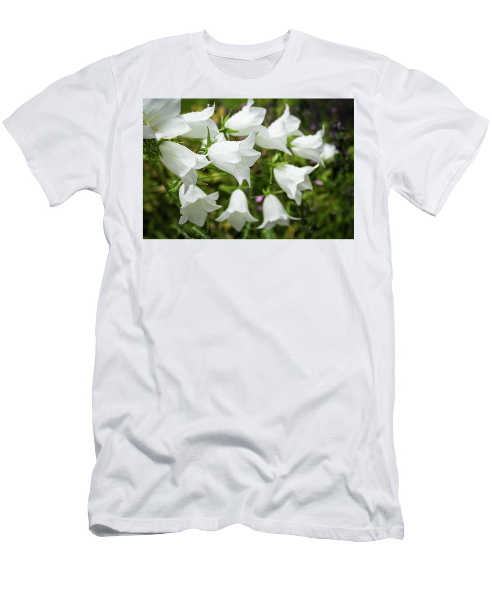 Flower Men's T-Shirt (Athletic Fit) featuring the photograph Flowers With Droplets 2 by Mark Denton