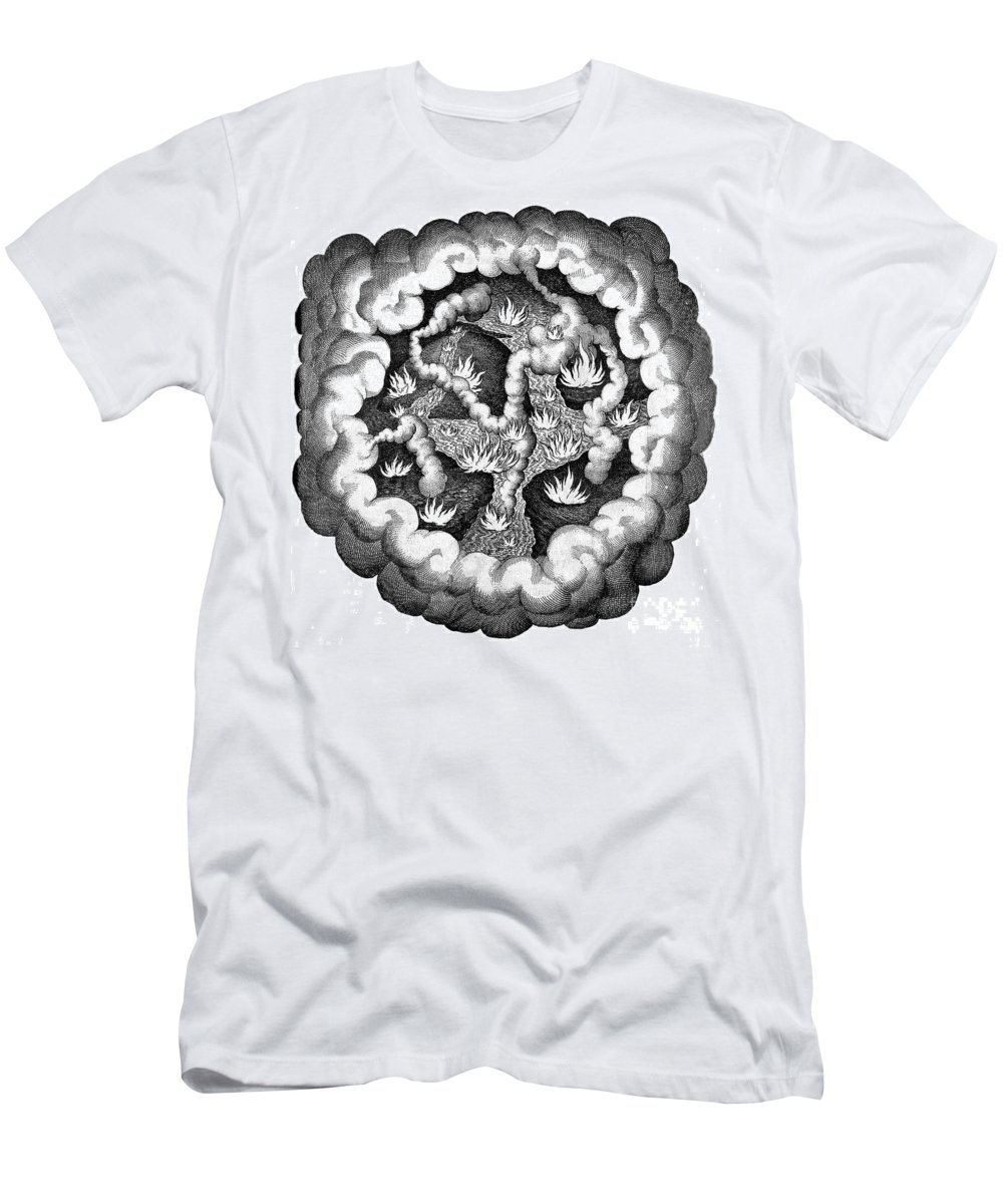 History Men's T-Shirt (Athletic Fit) featuring the photograph Fludds Primordial Fires, 1617 by Wellcome Images