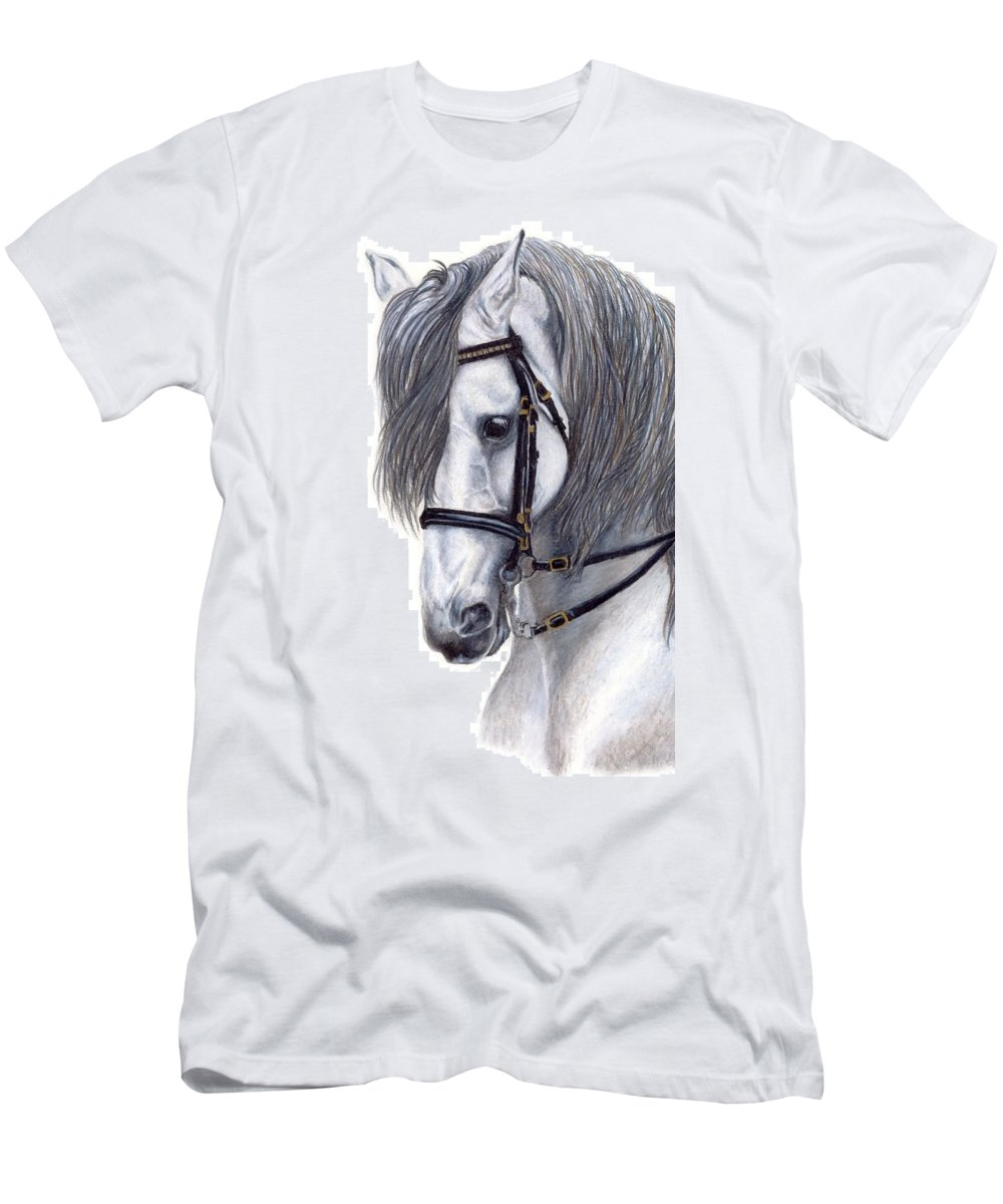 Horse Men's T-Shirt (Athletic Fit) featuring the drawing Focus by Kristen Wesch