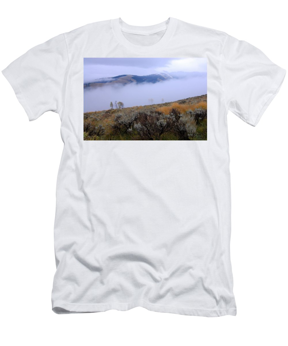 Yellowstone National Park Men's T-Shirt (Athletic Fit) featuring the photograph Fog In The Valley by Larry Ricker