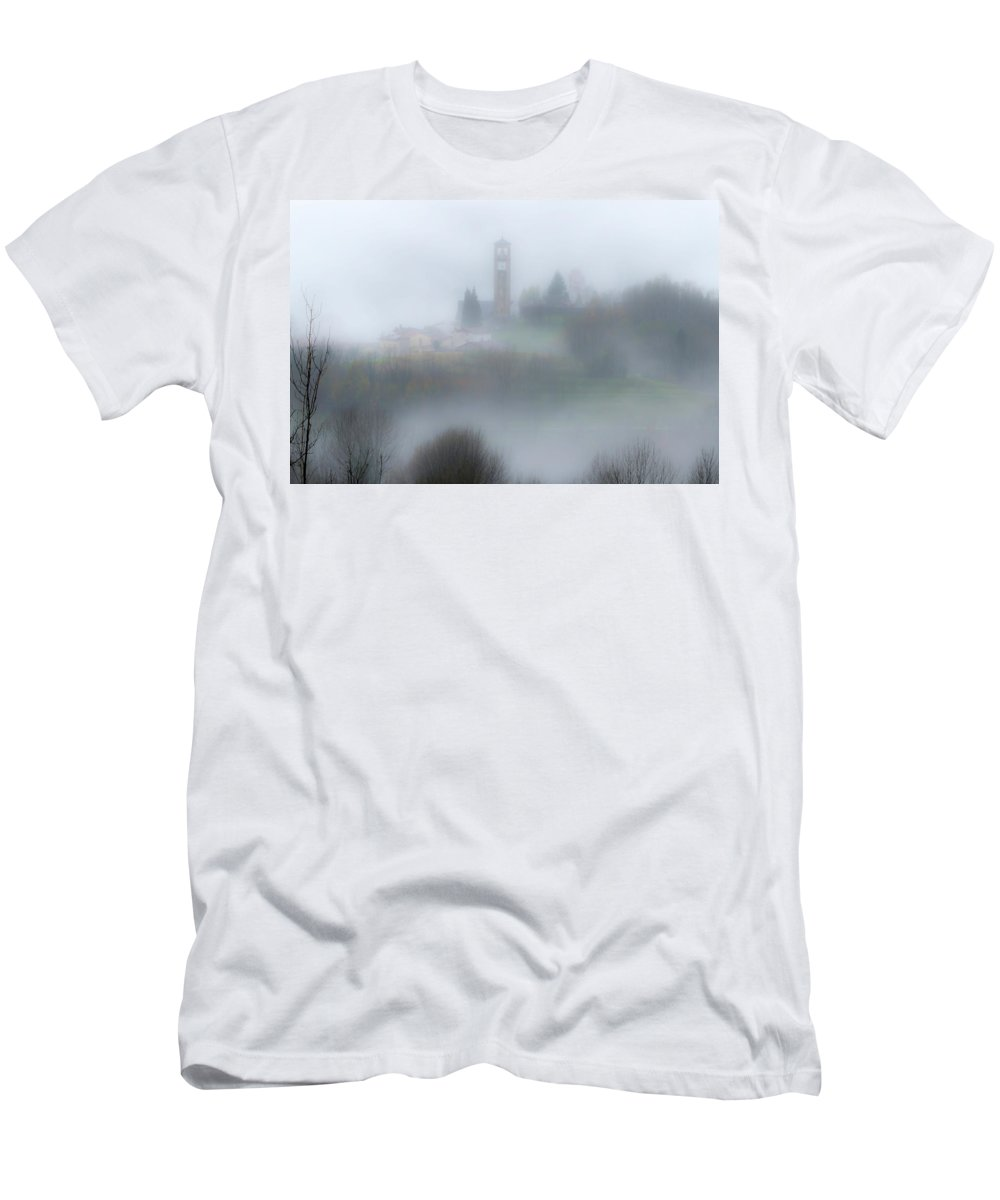 Italy Men's T-Shirt (Athletic Fit) featuring the photograph Foggy Mountain Village by Wolfgang Stocker
