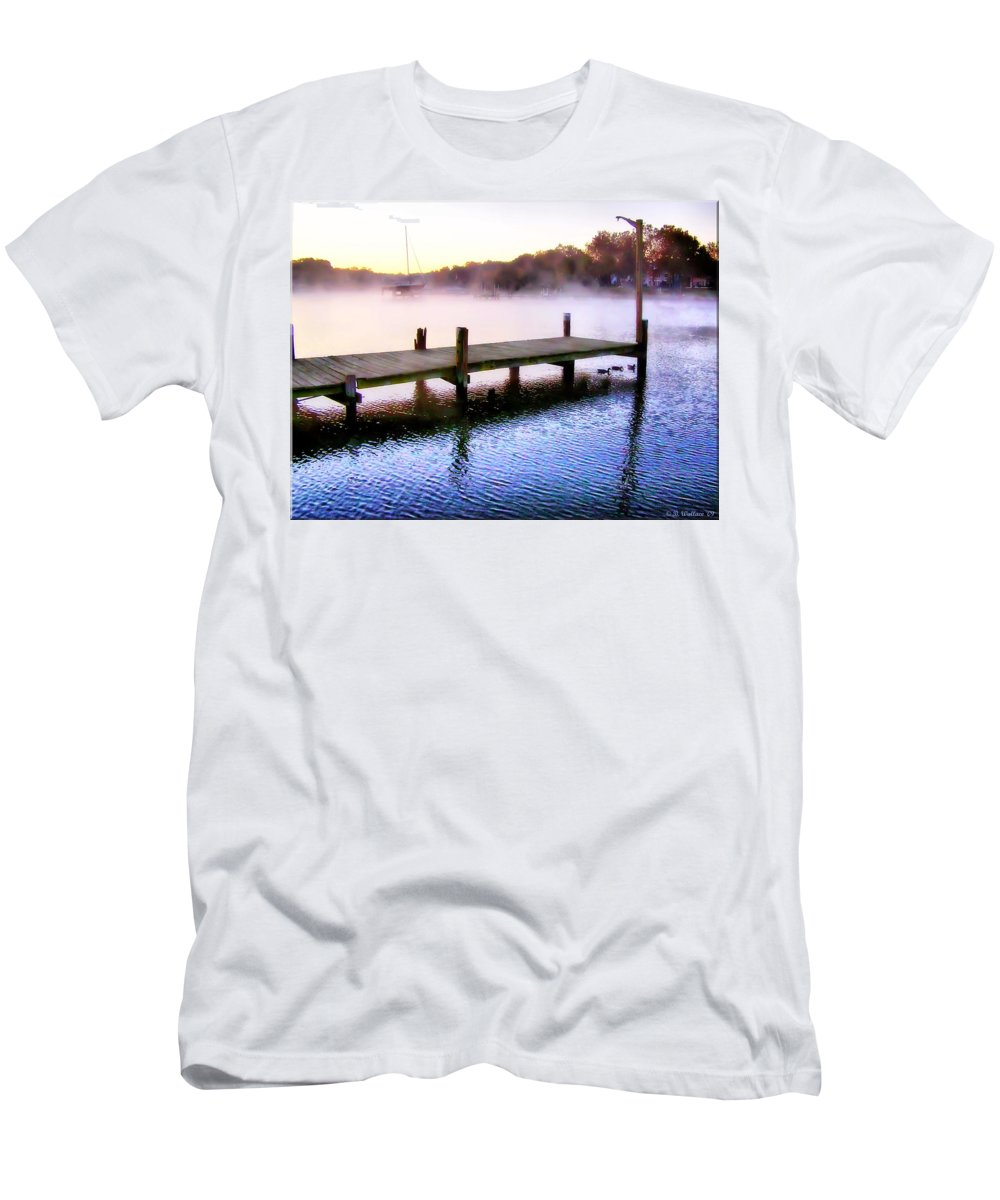 2d Men's T-Shirt (Athletic Fit) featuring the photograph Foggy Pier by Brian Wallace