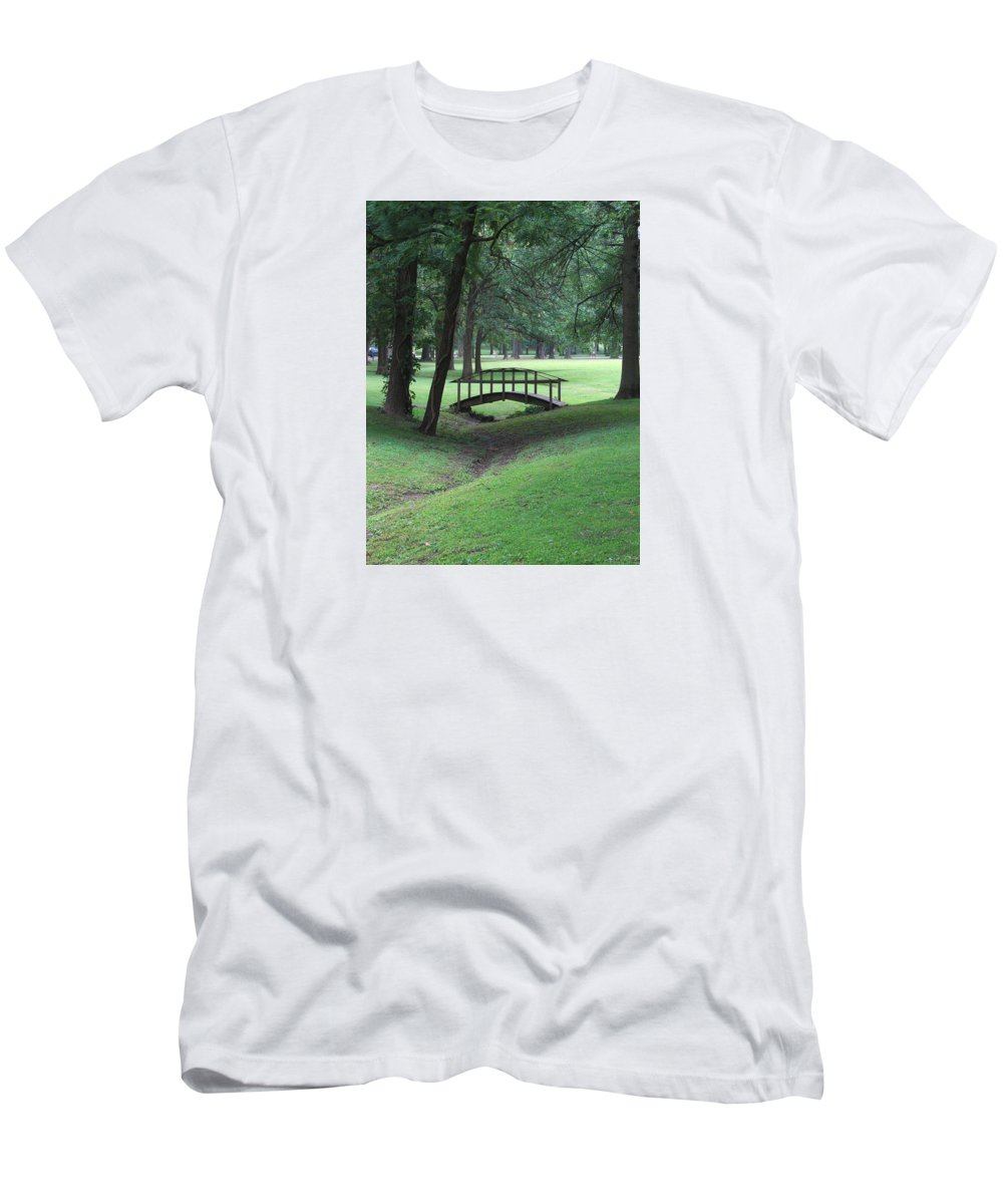 Bridge Men's T-Shirt (Athletic Fit) featuring the photograph Foot Bridge In The Park by J R Seymour