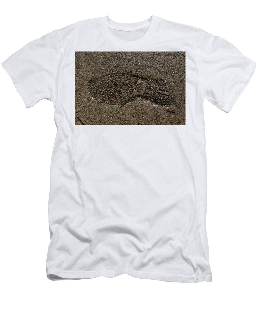 Footprint Men's T-Shirt (Athletic Fit) featuring the photograph Foot Print by Donna Riordan