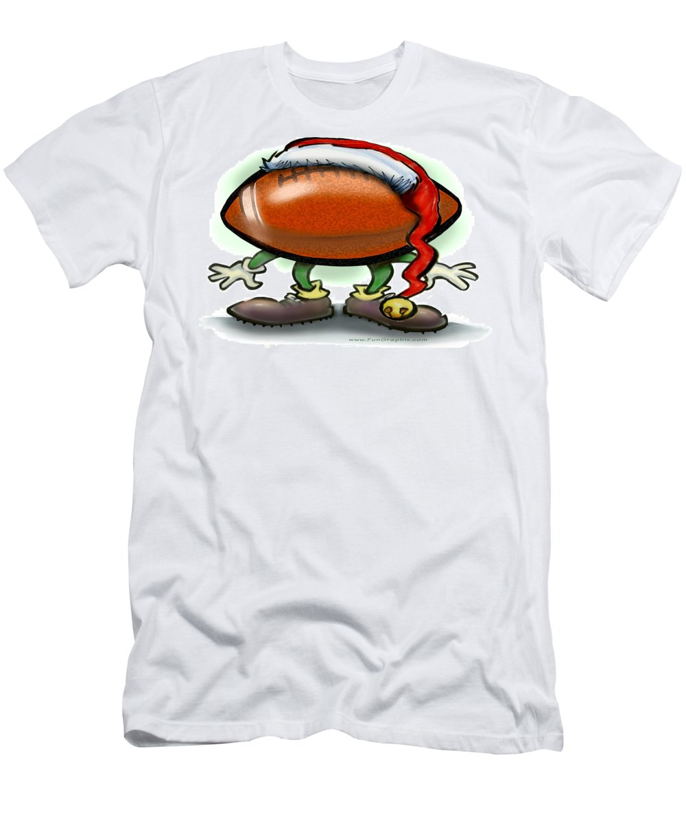Football T-Shirt featuring the greeting card Football Christmas by Kevin Middleton