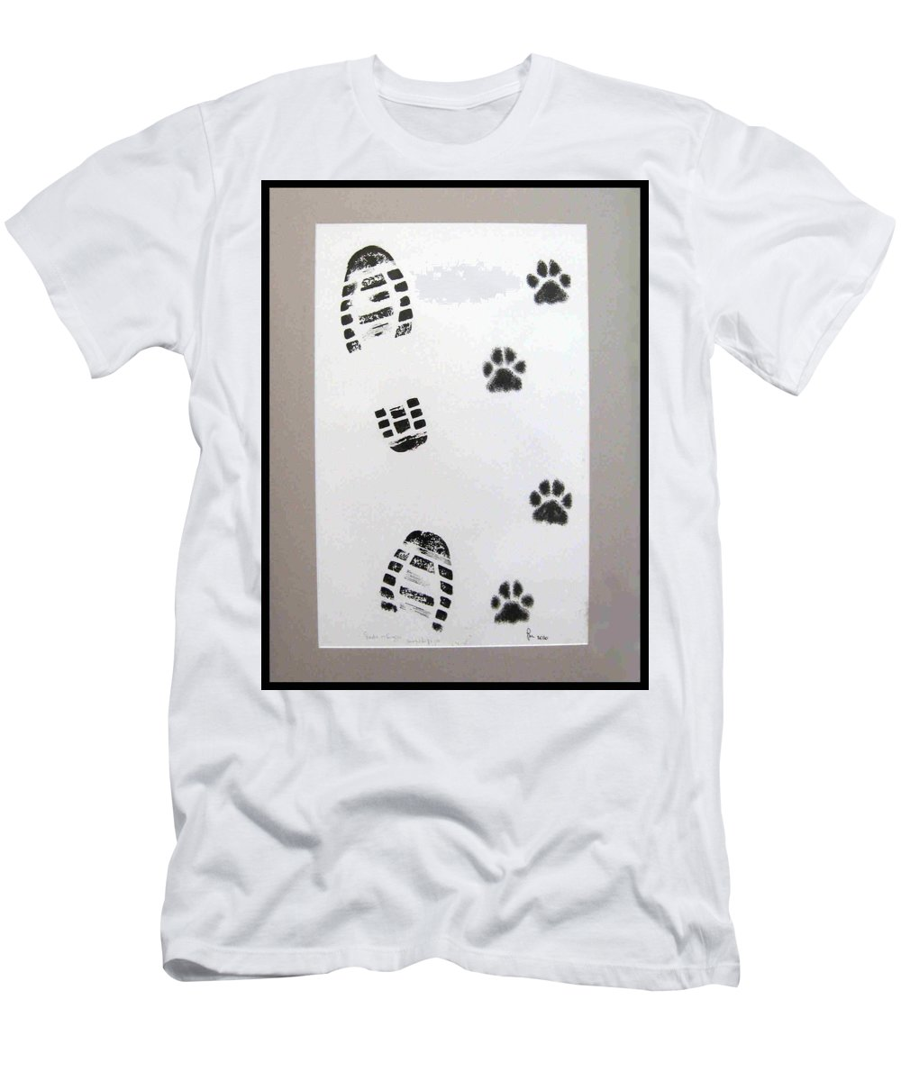 Footprints Men's T-Shirt (Athletic Fit) featuring the drawing Footprints- Friends by Dragica Micki Fortuna