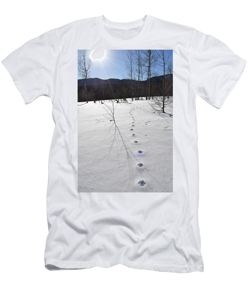 Men's T-Shirt (Athletic Fit) featuring the photograph Footprints In The Snow by Gloria Moeller