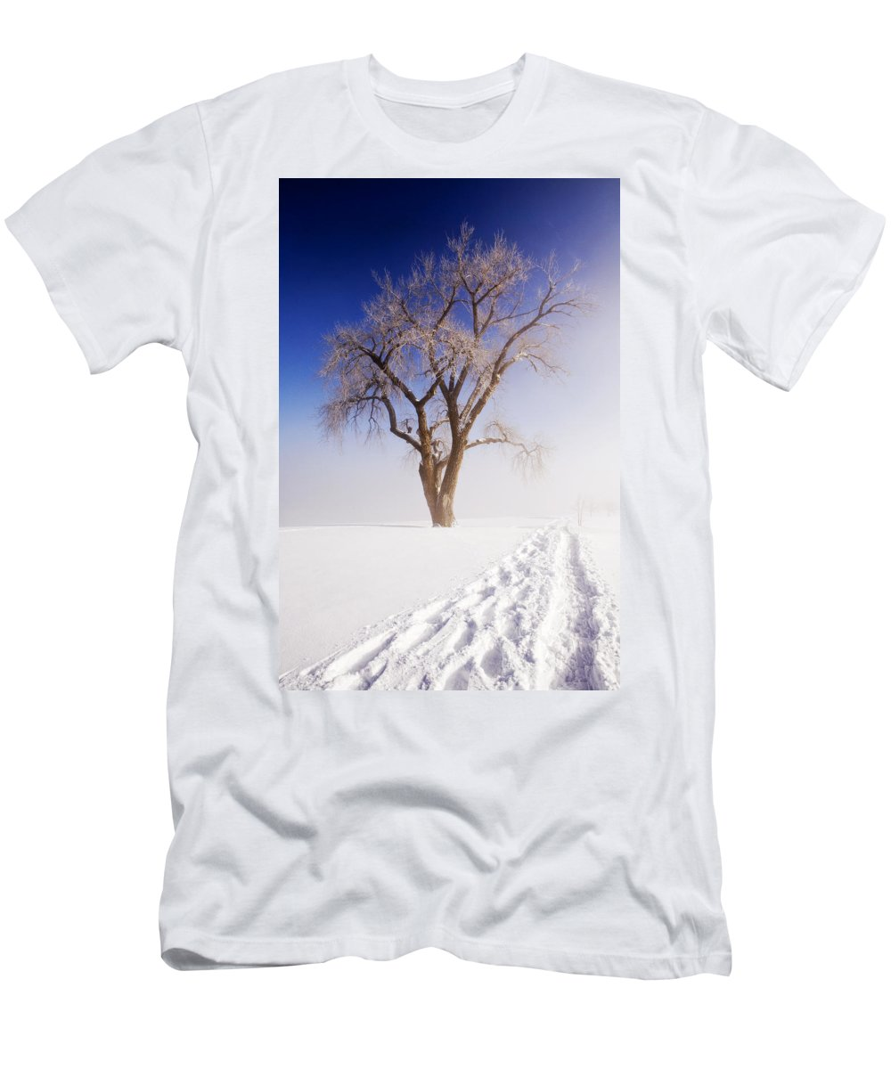 Snow Men's T-Shirt (Athletic Fit) featuring the photograph Footsteps by Marilyn Hunt