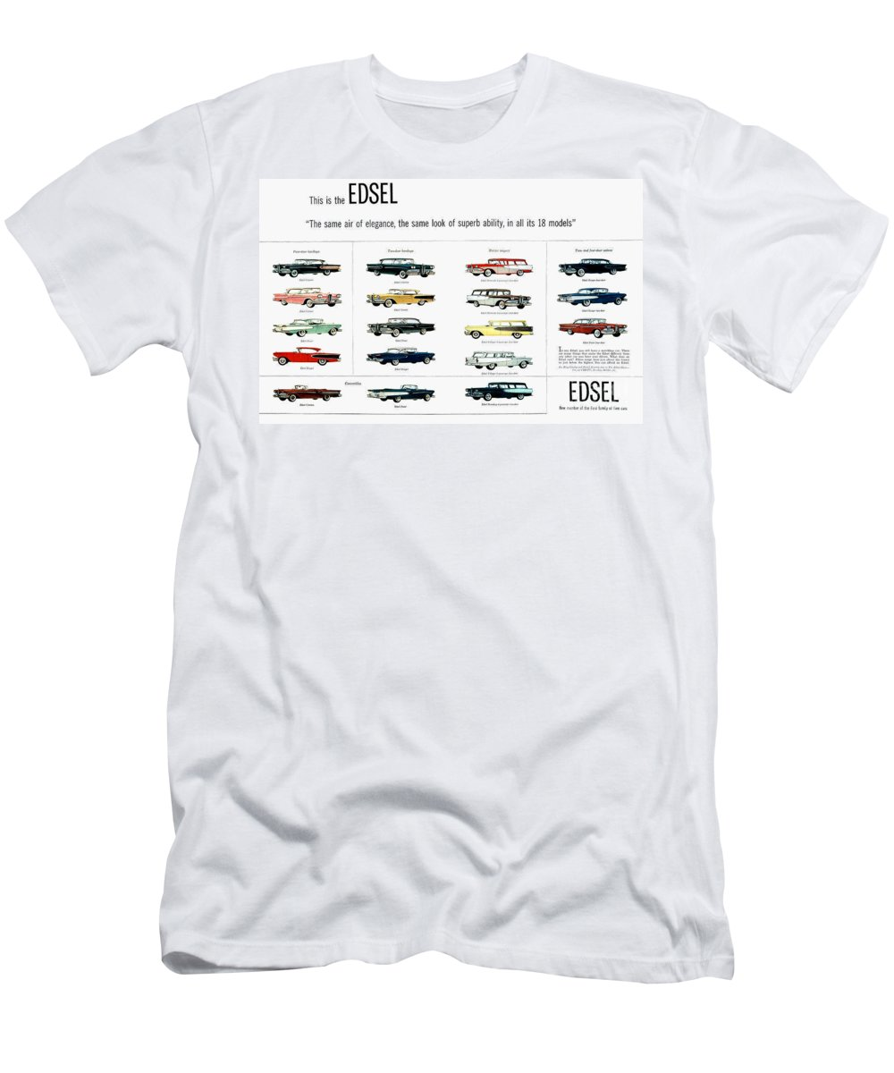 1957 Men's T-Shirt (Athletic Fit) featuring the photograph Ford Auto/edsel Ad, 1957 by Granger
