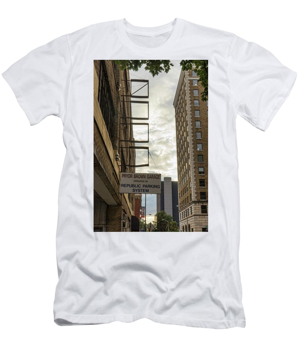 Knoxville Men's T-Shirt (Athletic Fit) featuring the photograph Four Empty Squares by Sharon Popek