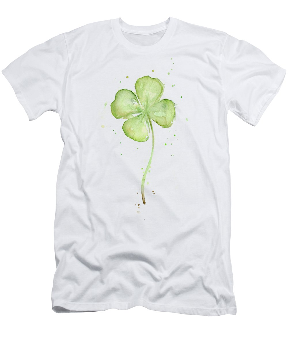 St Patricks Men's T-Shirt (Athletic Fit) featuring the painting Four Leaf Clover Lucky Charm by Olga Shvartsur