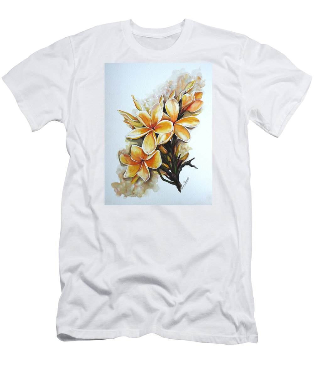 Caribbean Paintings Flower Paintings Floral Paintings  Men's T-Shirt (Athletic Fit) featuring the painting Frangipangi  Sold by Karin Dawn Kelshall- Best