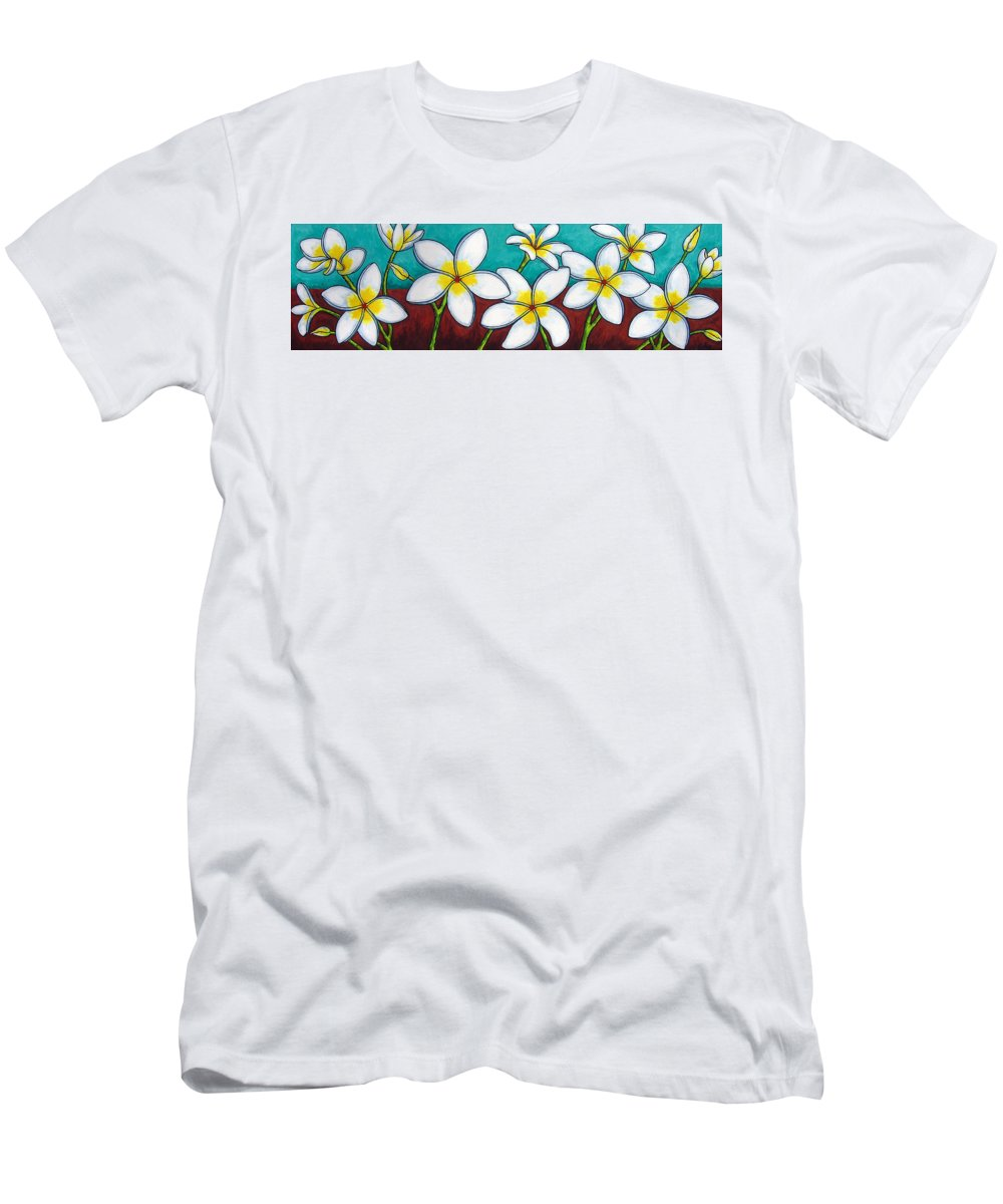 Frangipani Men's T-Shirt (Athletic Fit) featuring the painting Frangipani Delight by Lisa Lorenz
