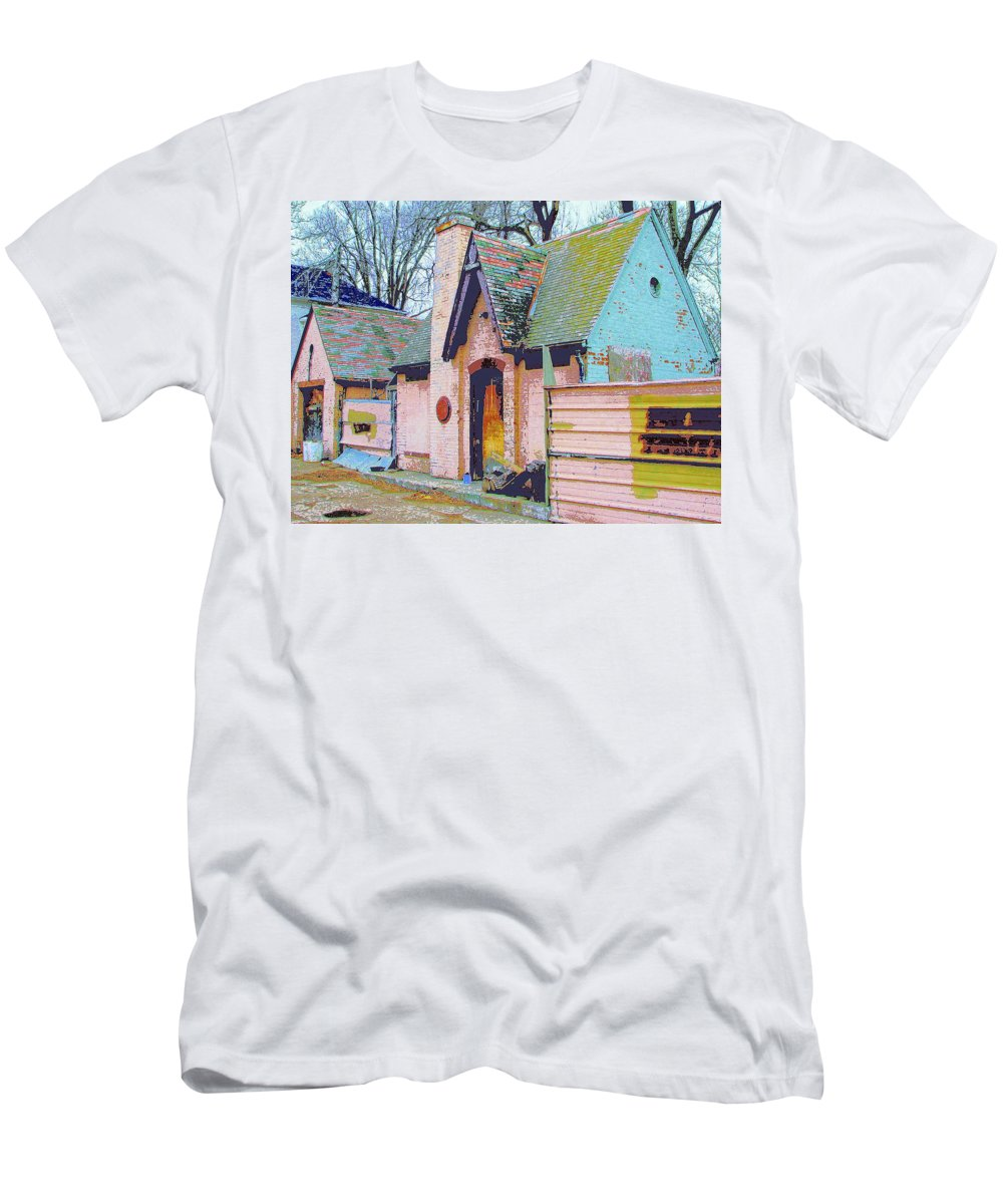 Old House Men's T-Shirt (Athletic Fit) featuring the mixed media Frank Lloyd Wrong by Dominic Piperata