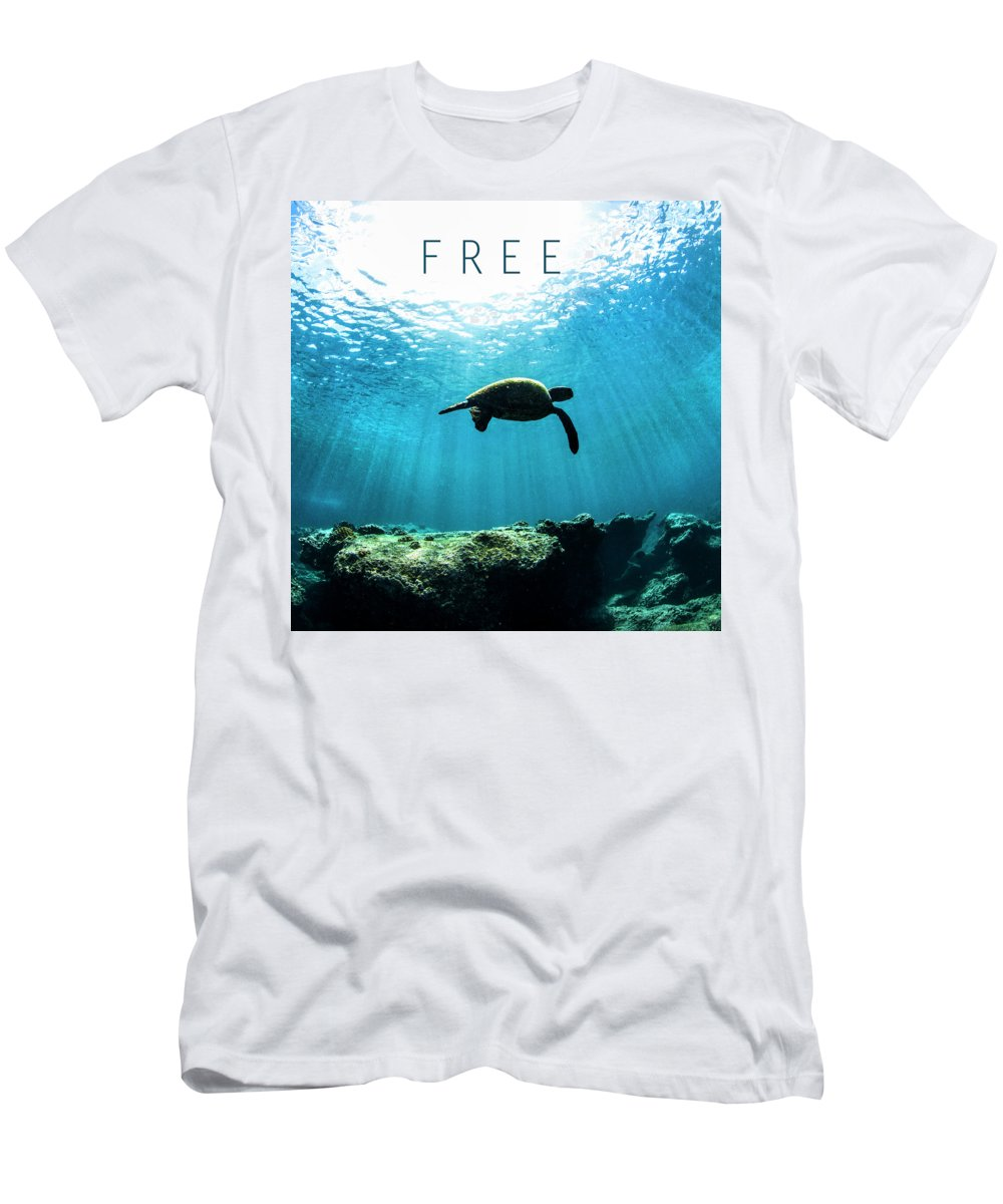 Under Water Men's T-Shirt (Athletic Fit) featuring the photograph Free. by Sean Davey