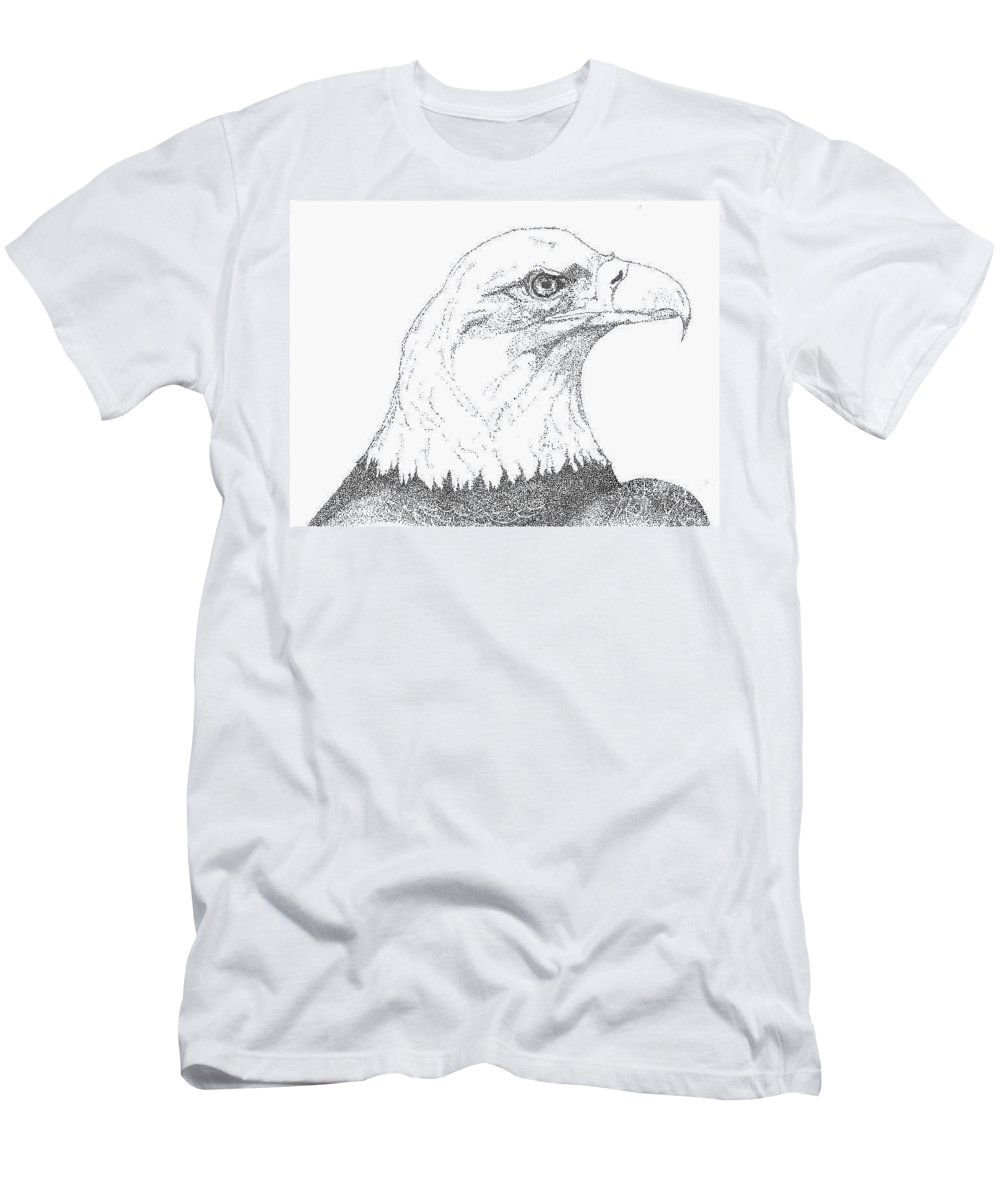 Eagle Men's T-Shirt (Athletic Fit) featuring the drawing Freedom by Debra Sandstrom