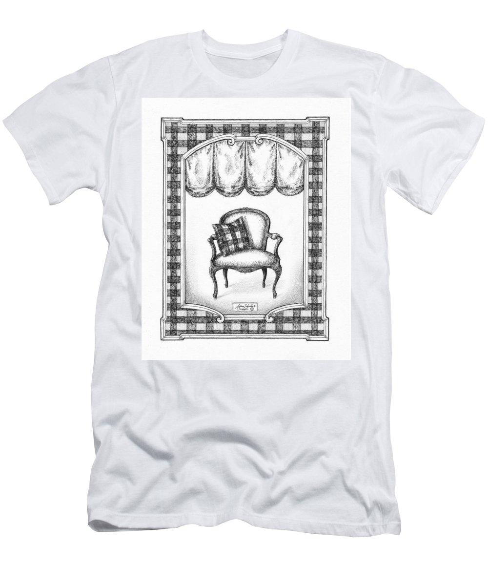 Black Men's T-Shirt (Athletic Fit) featuring the drawing French Country Fauteuil by Adam Zebediah Joseph