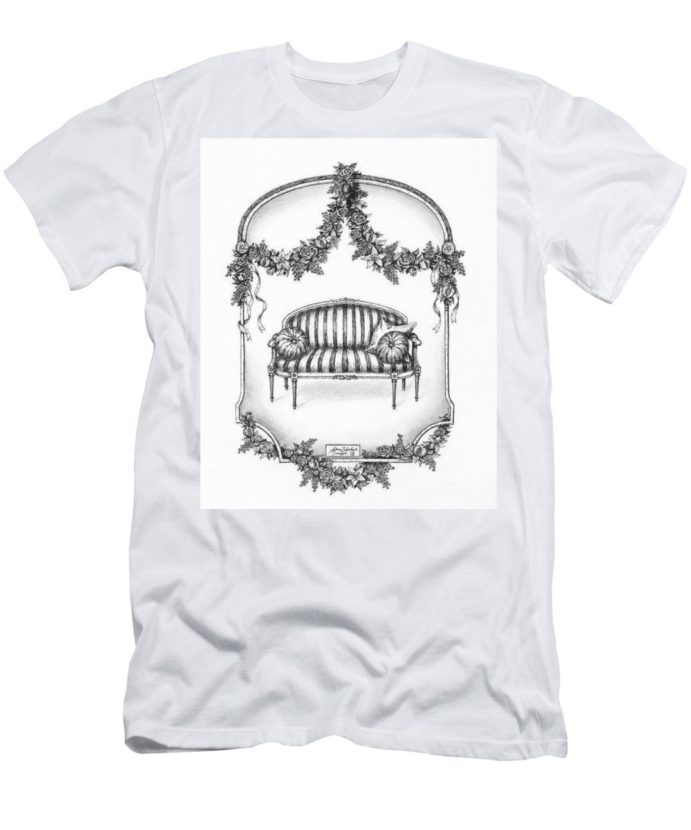 Black Men's T-Shirt (Athletic Fit) featuring the drawing French Country Sofa by Adam Zebediah Joseph
