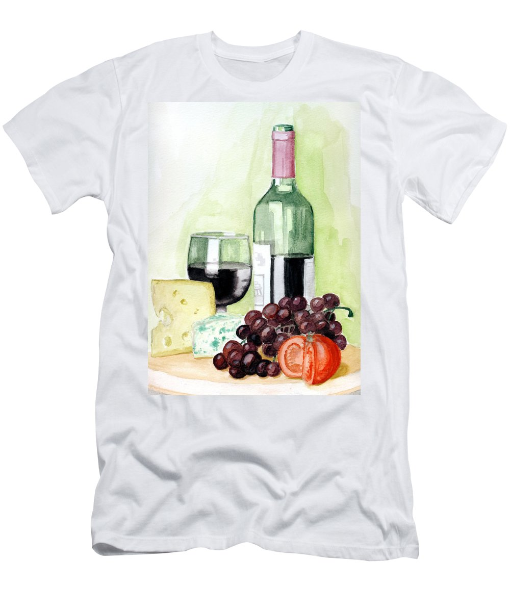 Wine Men's T-Shirt (Athletic Fit) featuring the painting French Tradition by Alban Dizdari