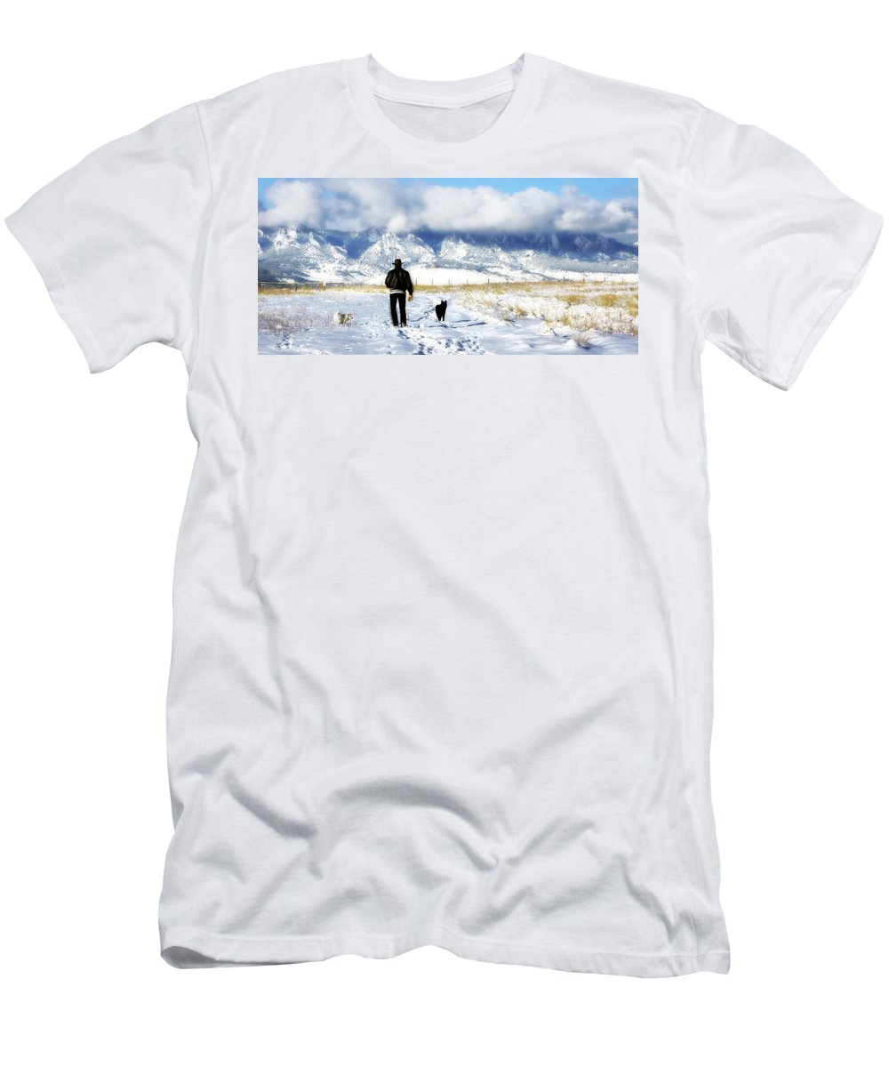 Americana Men's T-Shirt (Athletic Fit) featuring the photograph Friends On A Walk by Marilyn Hunt