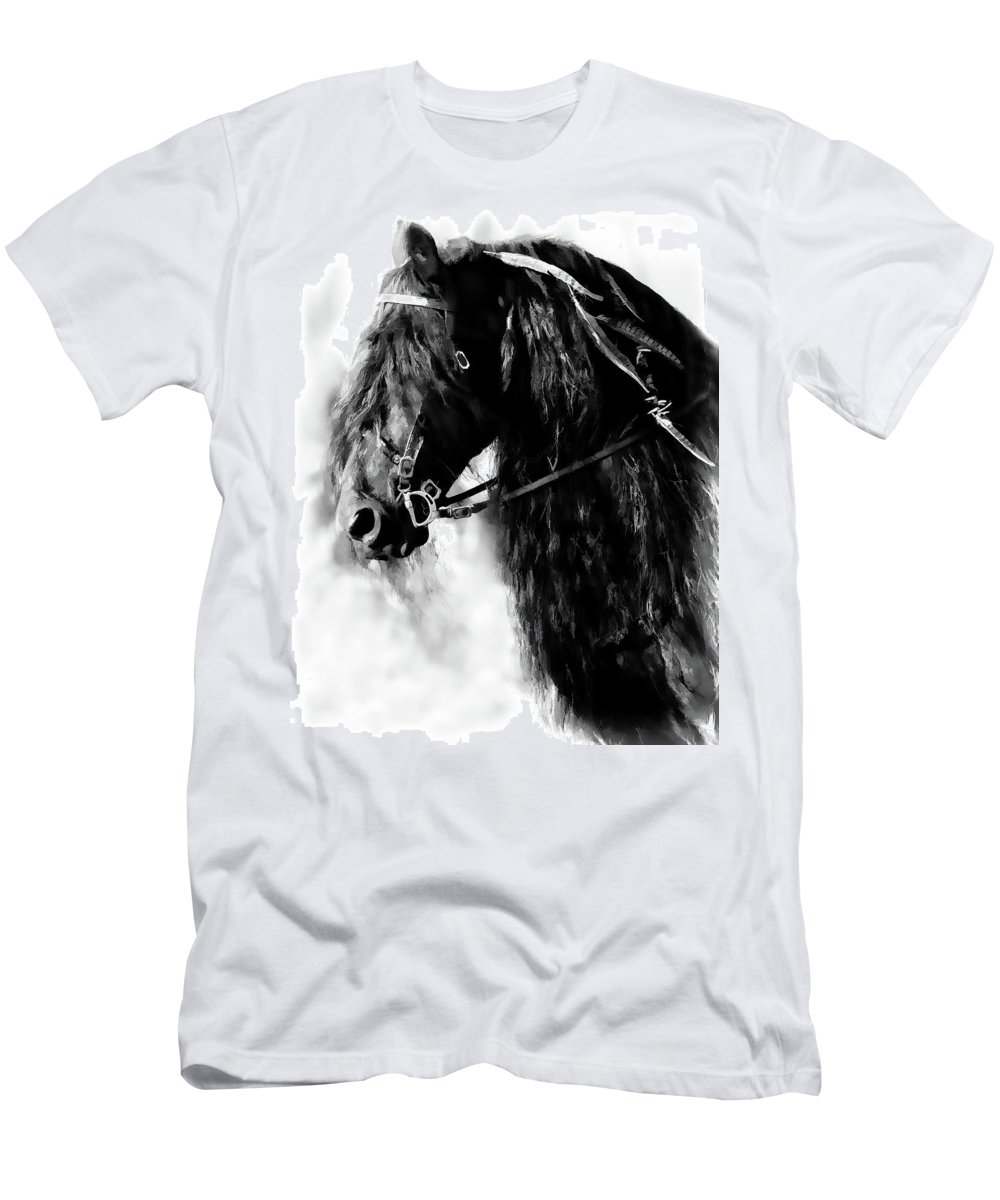 Friesian Horse Men's T-Shirt (Athletic Fit) featuring the photograph Friesian Horse Beauty by Athena Mckinzie