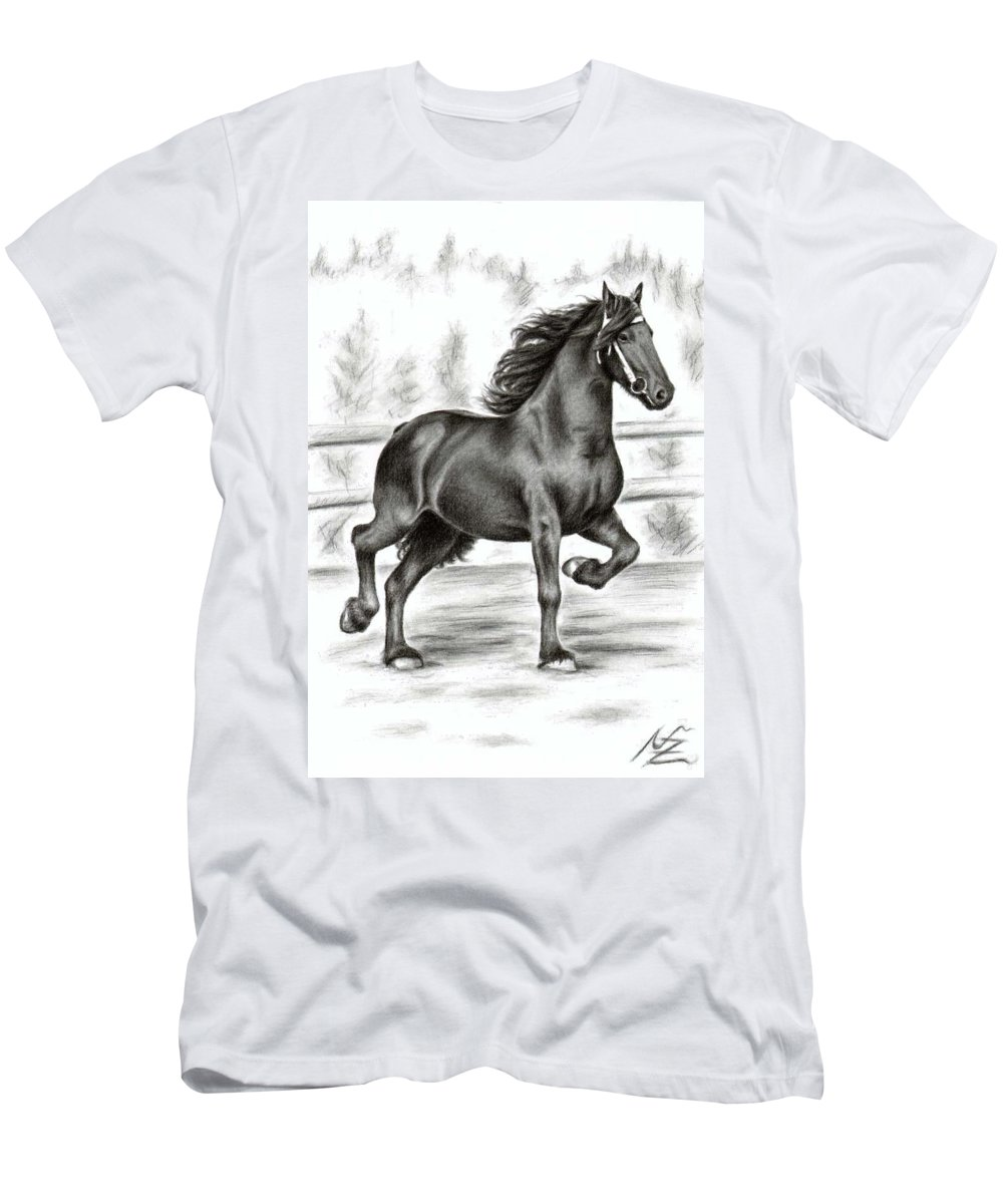 Horse Men's T-Shirt (Athletic Fit) featuring the drawing Friesian Horse by Nicole Zeug