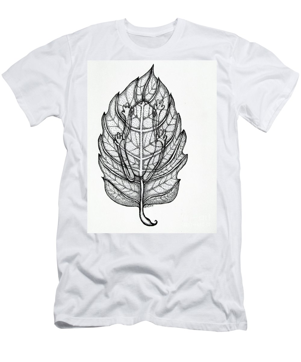Frog Men's T-Shirt (Athletic Fit) featuring the drawing Frog On A Leaf by Nick Gustafson