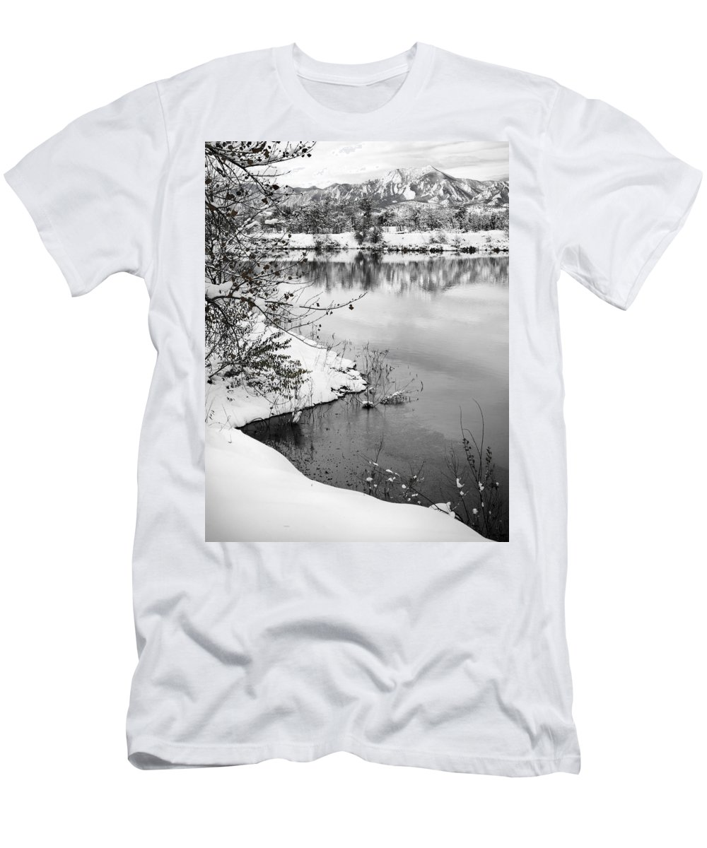 Colorado Men's T-Shirt (Athletic Fit) featuring the photograph Frosty Flatirons by Marilyn Hunt
