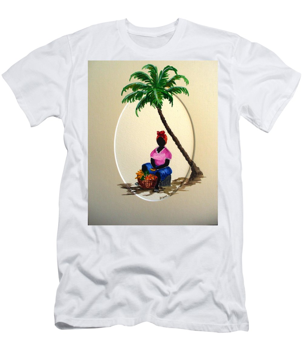 Men's T-Shirt (Athletic Fit) featuring the painting Fruit Seller by Karin Dawn Kelshall- Best