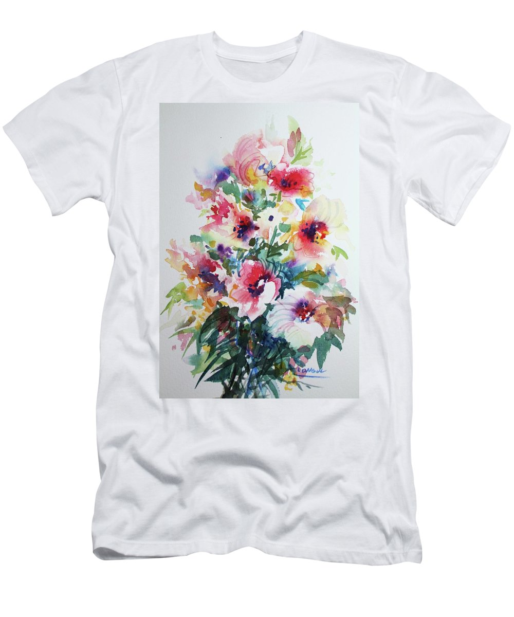 Floral Men's T-Shirt (Athletic Fit) featuring the painting Floral by Ross Longul