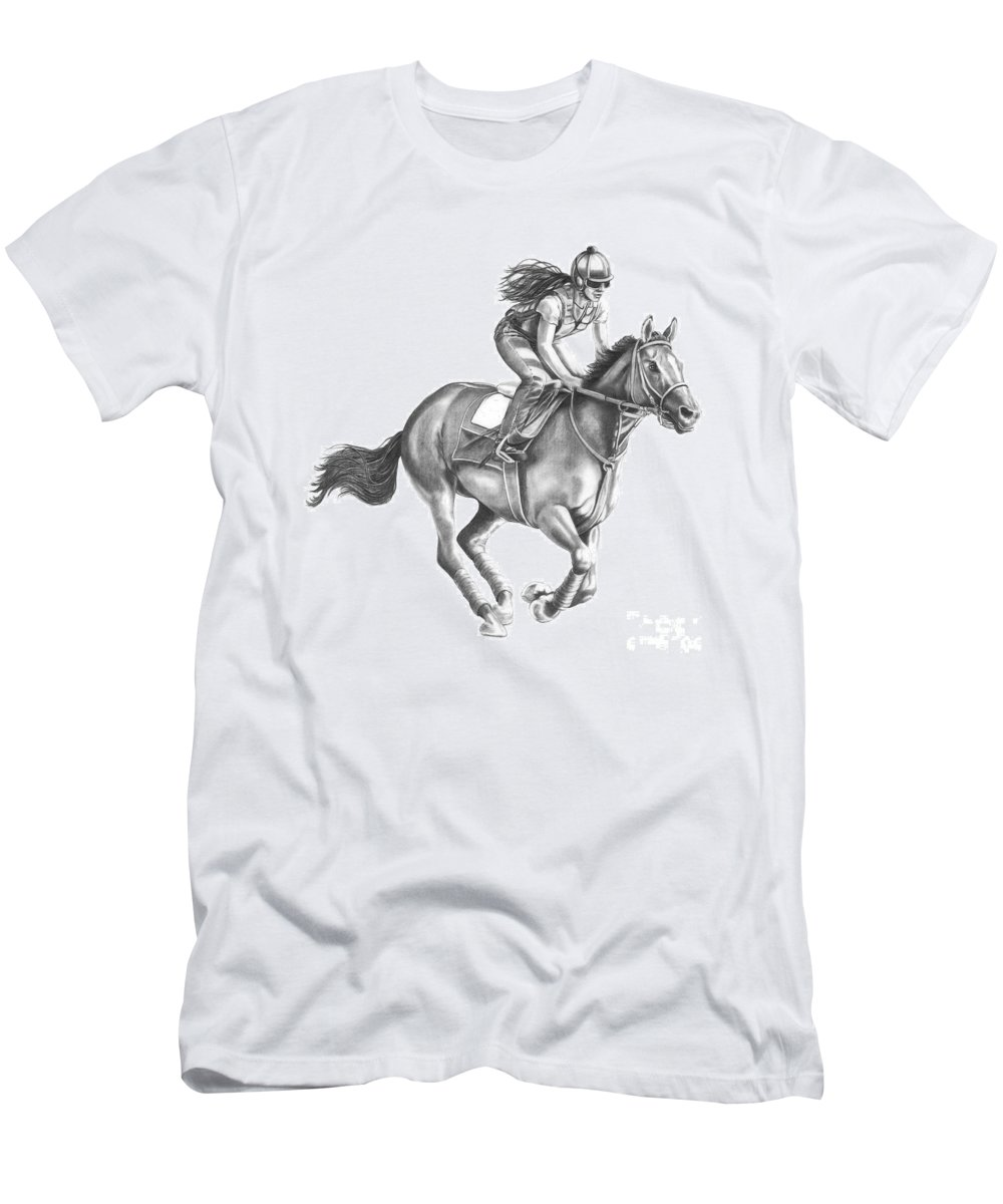 Horse Men's T-Shirt (Athletic Fit) featuring the drawing Full Gallop by Murphy Elliott