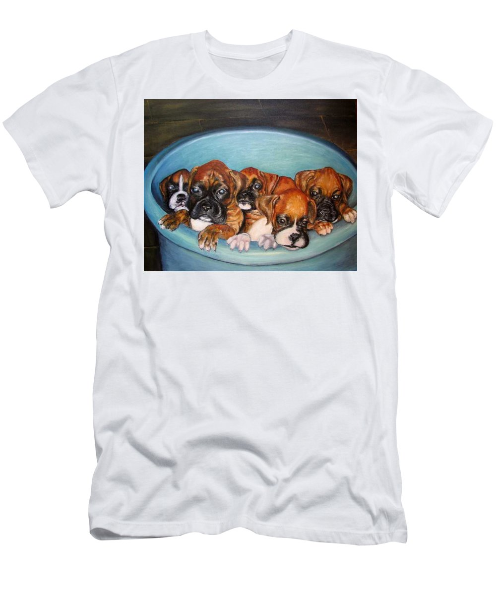 Oil Men's T-Shirt (Athletic Fit) featuring the painting Funny Puppies Orginal Oil Painting by Natalja Picugina