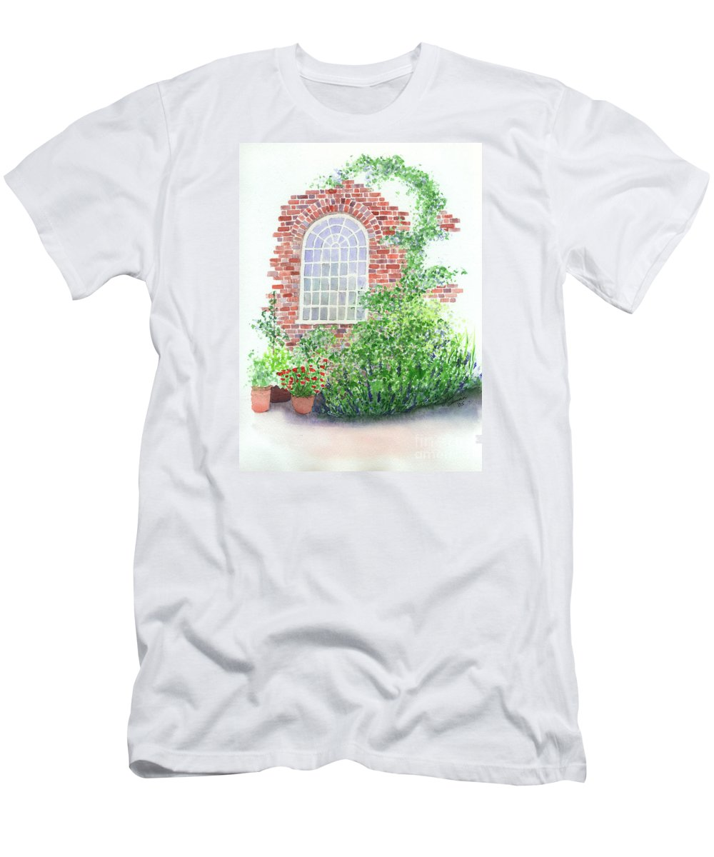 Window Men's T-Shirt (Athletic Fit) featuring the painting Garden Wall by Lynn Quinn