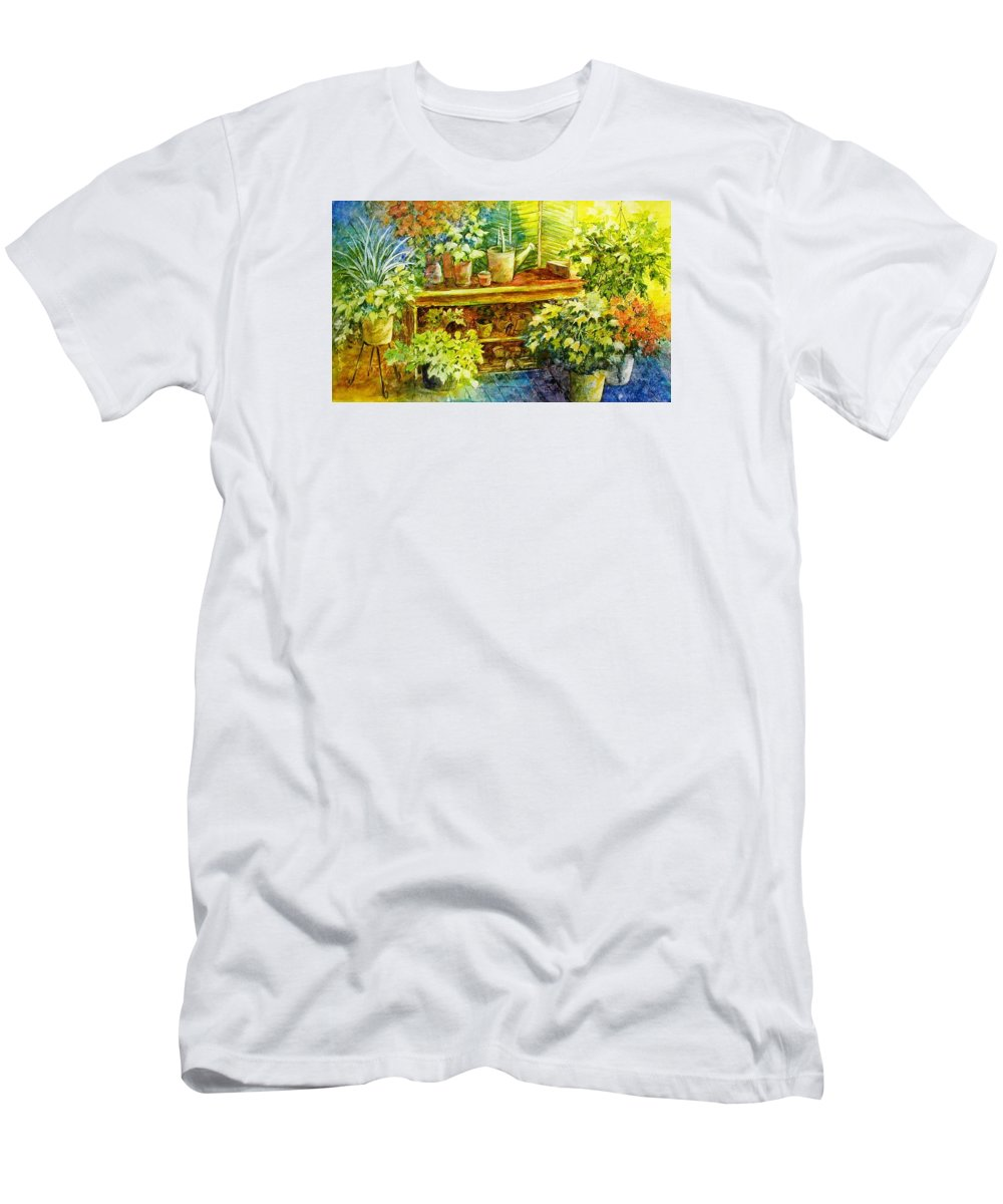 Greenhouse;plants;flowers;gardener;workbench;sprinkling Can;contemporary Men's T-Shirt (Athletic Fit) featuring the painting Gardener's Joy by Lois Mountz