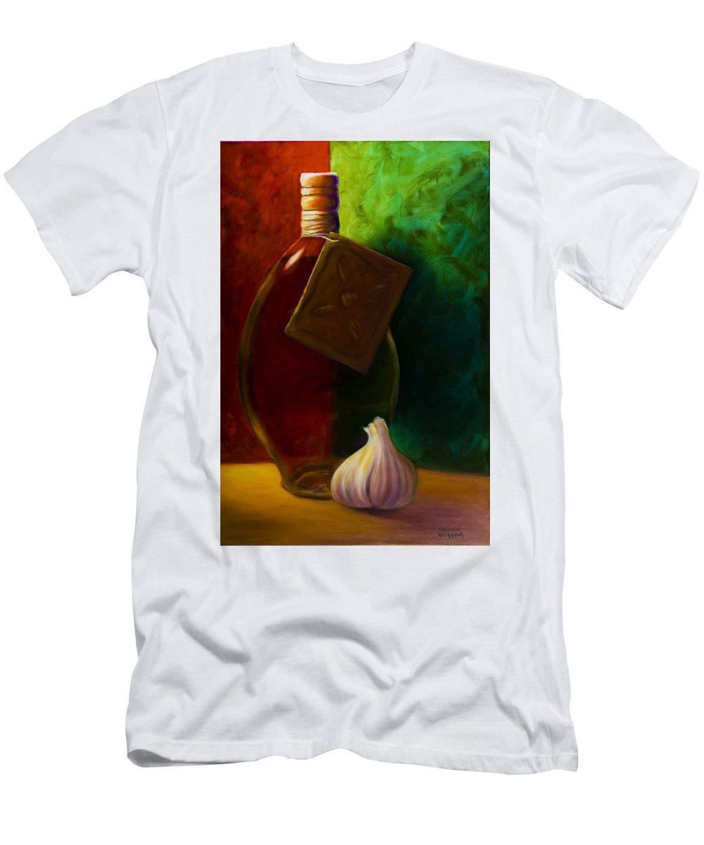 Shannon Grissom Men's T-Shirt (Athletic Fit) featuring the painting Garlic And Oil by Shannon Grissom