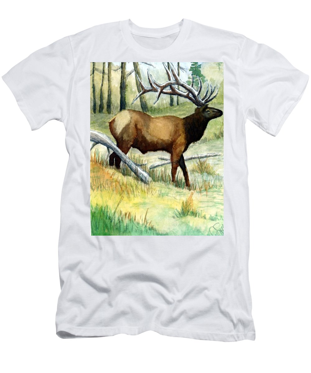 Wildlife Men's T-Shirt (Athletic Fit) featuring the painting Gash Flats Bull by Jimmy Smith