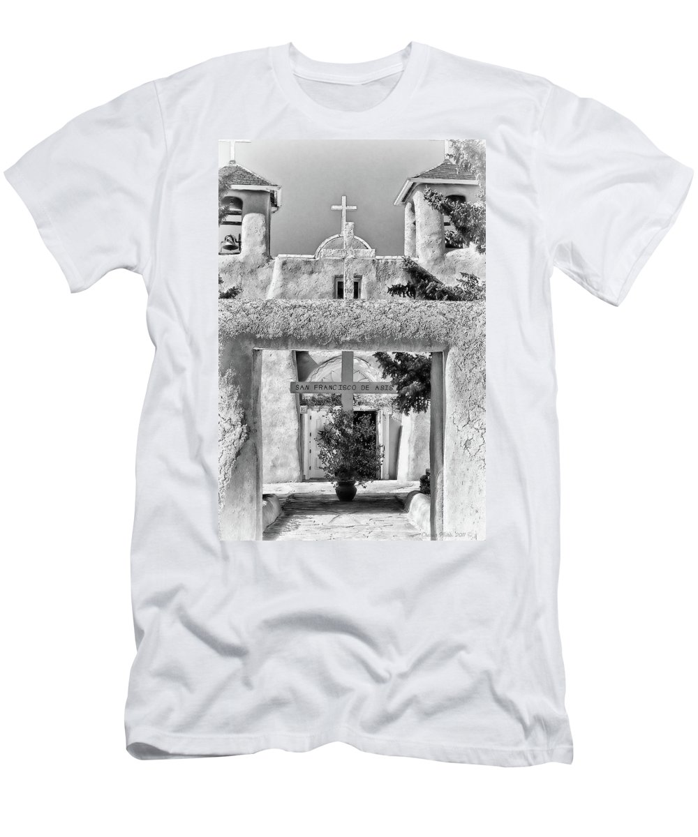 Santa Men's T-Shirt (Athletic Fit) featuring the photograph Gate To Ranchos Church Black And White by Charles Muhle