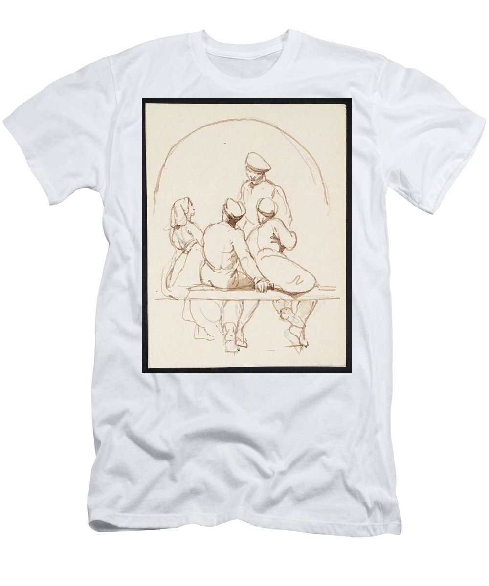 George Jones 1786�1869 Gathering Men's T-Shirt (Athletic Fit) featuring the painting Gathering by MotionAge Designs