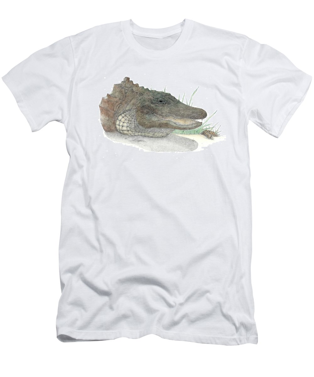 Gator Men's T-Shirt (Athletic Fit) featuring the drawing Gator by David Weaver