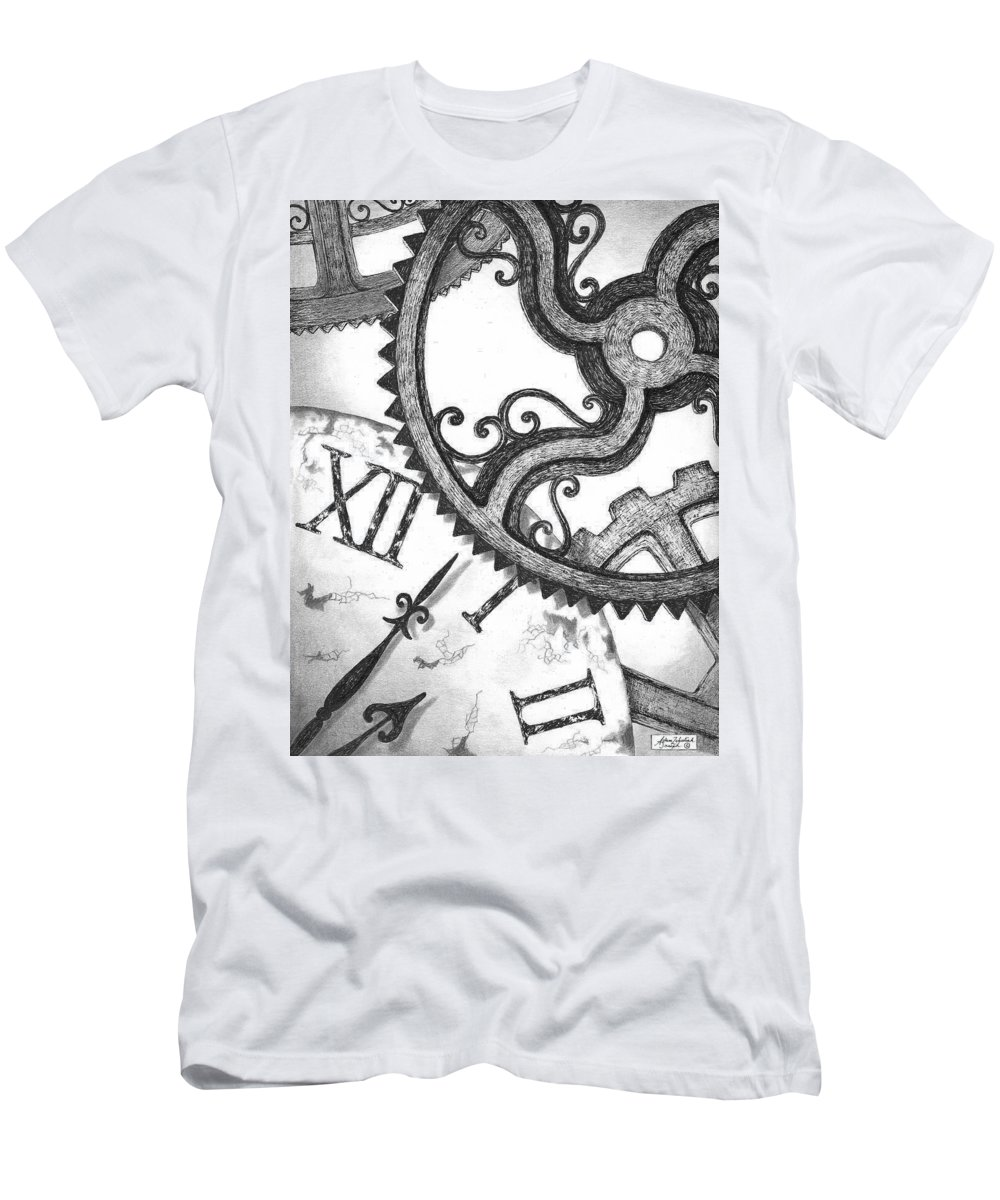 Art Men's T-Shirt (Athletic Fit) featuring the drawing Geared by Adam Zebediah Joseph
