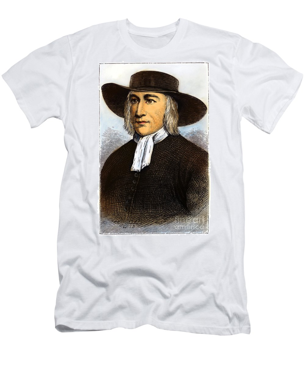 English Men's T-Shirt (Athletic Fit) featuring the drawing George Fox, 1624-1691 by Granger