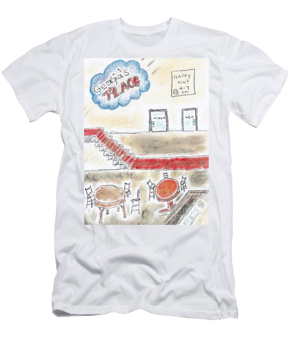 Charcoal Pencil Men's T-Shirt (Athletic Fit) featuring the mixed media Georgia's Place by Robyn Louisell