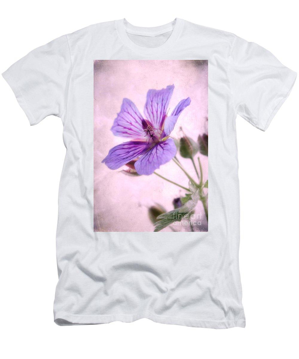 Geranium Maculatum Men's T-Shirt (Athletic Fit) featuring the photograph Geranium Maculatum by John Edwards