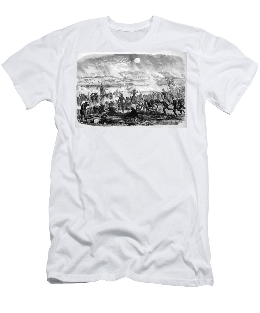 Gettysburg Men's T-Shirt (Athletic Fit) featuring the painting Gettysburg Battle Scene by War Is Hell Store
