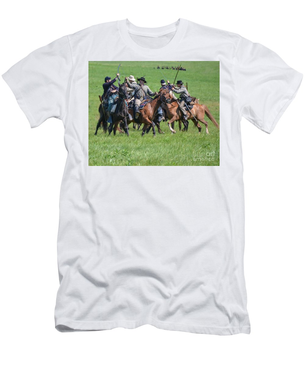 150th Men's T-Shirt (Athletic Fit) featuring the photograph Gettysburg Cavalry Battle 7948c by Cynthia Staley